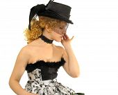Beautiful Girl In Retro Decollete Dress And Veil poster