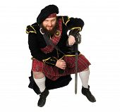 Scottish Warrior With Bottle Of Red Wine poster
