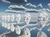 Surreal white faces float about reflecting sureface