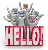 Several people greet each other with the word Hello spoken in different international languages from