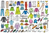 stock photo of jeans skirt  - fashion and clothing color icons vector collection - JPG