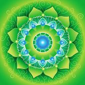 foto of chakra  - circle background bright green mandlala of anahata chakra vector - JPG