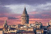 image of constantinople  - Galata Tower in Istanbul Turkey - JPG