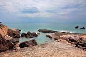 Lamai beach after a storm. Picturesque rocks on the Koh Samui