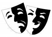 Theatre Black And White Emotion Masks, Vector