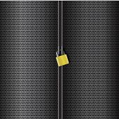 Abstract grid metal lock vertical