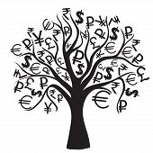 set of money trees isolated on White background.