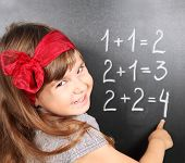 Girl Near Blackboard Learning Mathematics