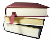 Books Pile With Bookmark Ribbon, Clipping Path