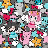 picture of kawaii  - Seamless pattern with doodle - JPG