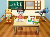 Illustration of a boy inside a science laboratory