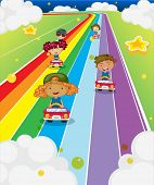 stock photo of kinetic  - Illustration of the five kids racing - JPG