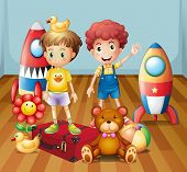 Illustration of the two boys surrounded with toys