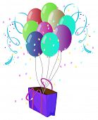 Illustration of a violet bag with ten different colors of balloons on a white background