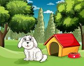 Illustration of a white puppy outside his doghouse