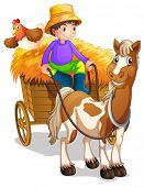 Illustration of a farmer riding in his wooden cart with a horse and a chicken on a white background