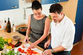 foto of crudites  - Man and woman in the kitchen  - JPG
