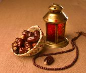 Ramadan lamp and dates still life
