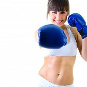 stock photo of abdominal muscle  - sport young woman boxing gloves - JPG