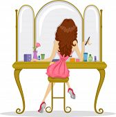 Illustration showing the Back View of a Prom Queen in Front of a Bureau Mirror