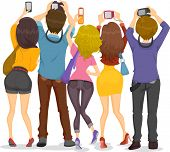 image of post-teen  - Illustration showing Back View of Teenagers Taking Pictures with their Cameras - JPG
