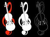 Treble clef and violin