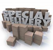 As palavras de entrega especial, cercada por caixas de papelão em um envio e recebimento de armazém ou st