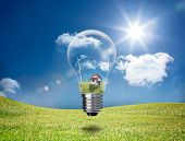 Light bulb showing house and turbines floating in a green field in the sunshine