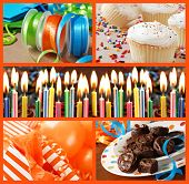 Colorful birthday celebration collage (includes closeup of frosted cake with burning candles, gifts,