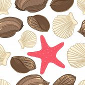 stock photo of cockle shell  - Seamless background with  shells starfish - JPG