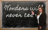 Teacher Showing Wonders Will Never Cease On Blackboard