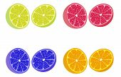 image of cleaving  - Cleaved lemons in four colors isolated on the white background - JPG