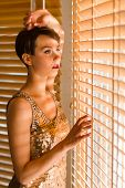 Woman And Venetian Blind