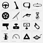 pic of meter stick  - Set of car object icons on light grey background - JPG