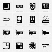 stock photo of cpu  - Set of computer components icons on light grey background - JPG