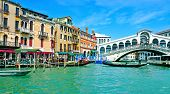 VENICE, ITALY - APRIL 11: A view of the Grand Canal and Rialto Bridge on April 14, 1013 in Venice, I