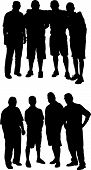 Adult Male Group Vector Silhouettes