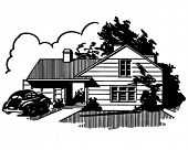 Suburban House - Retro Clip Art Illustration