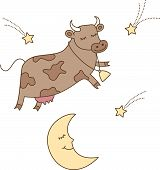 picture of nursery rhyme  - This illustration of a cow jumping over the moon is perfect for kids projects - JPG