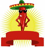 stock photo of chili peppers  - vector illustration of cartoon chili pepper for your label design - JPG