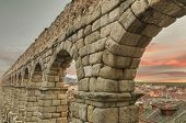 stock photo of aqueduct  - Segovia Aqueduct at dusk - JPG