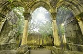stock photo of gothic  - Ancient gothic arches in the myst - JPG