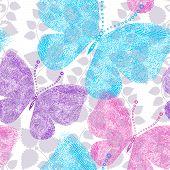 Spring Grunge Seamless Floral White Pattern