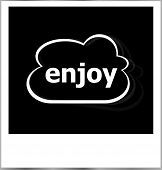 Instant Photo Frame With Cloud And Enjoy Word, Business Concept