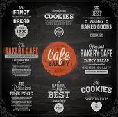 image of donut  - Set of vintage chalkboard bakery logo badges and labels for retro design - JPG