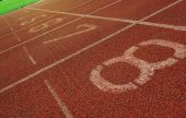image of 8-track  - Starting line of a running track used in - JPG