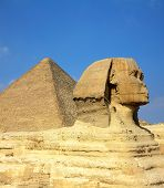 picture of pyramid shape  - famous ancient egypt Cheops pyramid and sphinx in Giza - JPG