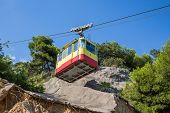 Funicular travels through places with partially destroyed the iron-concrete shield against landslide