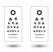foto of snellen chart  - sharp and unsharp snellen chart with symbols for children on white background - JPG