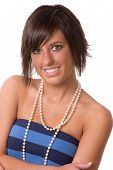 Prettty Teen Wearing Faux Pearl Necklace poster